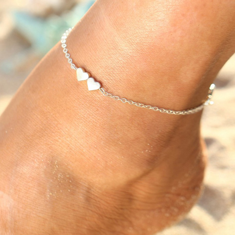 TAY European and American geometric pendant anklet fashion alloy heart-shaped anklet men and women holiday holiday gift