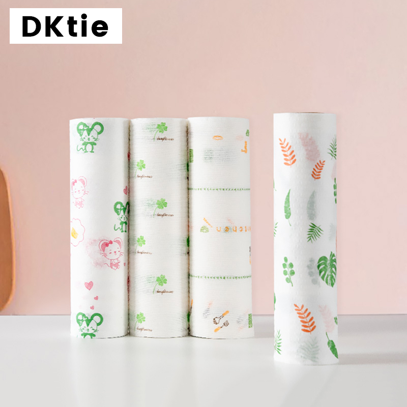 50 Pcs/Roll of Reusable Lazy Rags Kitchen Cleaning Dish Cloth Hand Towel Rolls Organic Dish Cloth Bamboo Towels