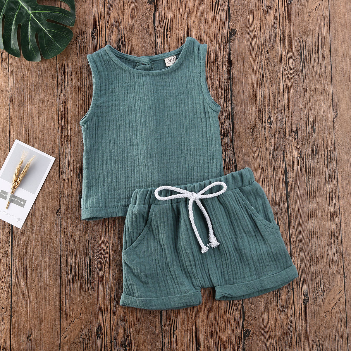 Emmababy Toddler Baby Boy Girl Clothes Solid Color Sleeveless Vest Tops Short Pants 2Pcs Outfits Knitted Cotton Clothes