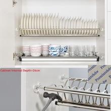 Скучно DIY 2-х уровневые Нержавеющая сталь шкаф для кухонных шкафов, внутри посуды сушилка для тарелок для хранения Организатор водосборник