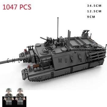 hot military WWII German Army VS US technic T95 super heavy tank vehicles war weapons Building Blocks model bricks toys for gift 1 72 world war ii auto assault e 100 super heavy tank as72057 collection model holiday gift