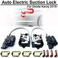 Карбар умный авто Электрический Всасывающий дверной замок для Skoda Karoq Автоматическая Мягкая Закрытая Супер тишина самовсасывающая дверь