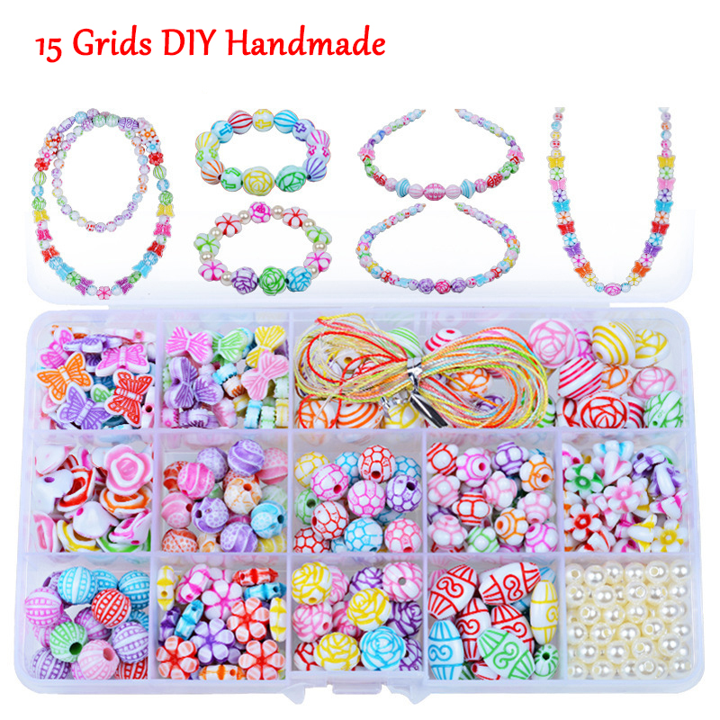 Children Handmade Creative DIY Beads Toy With Whole Accessory Set Girls Handmade Art Craft Educational Toys For Gifts Presents