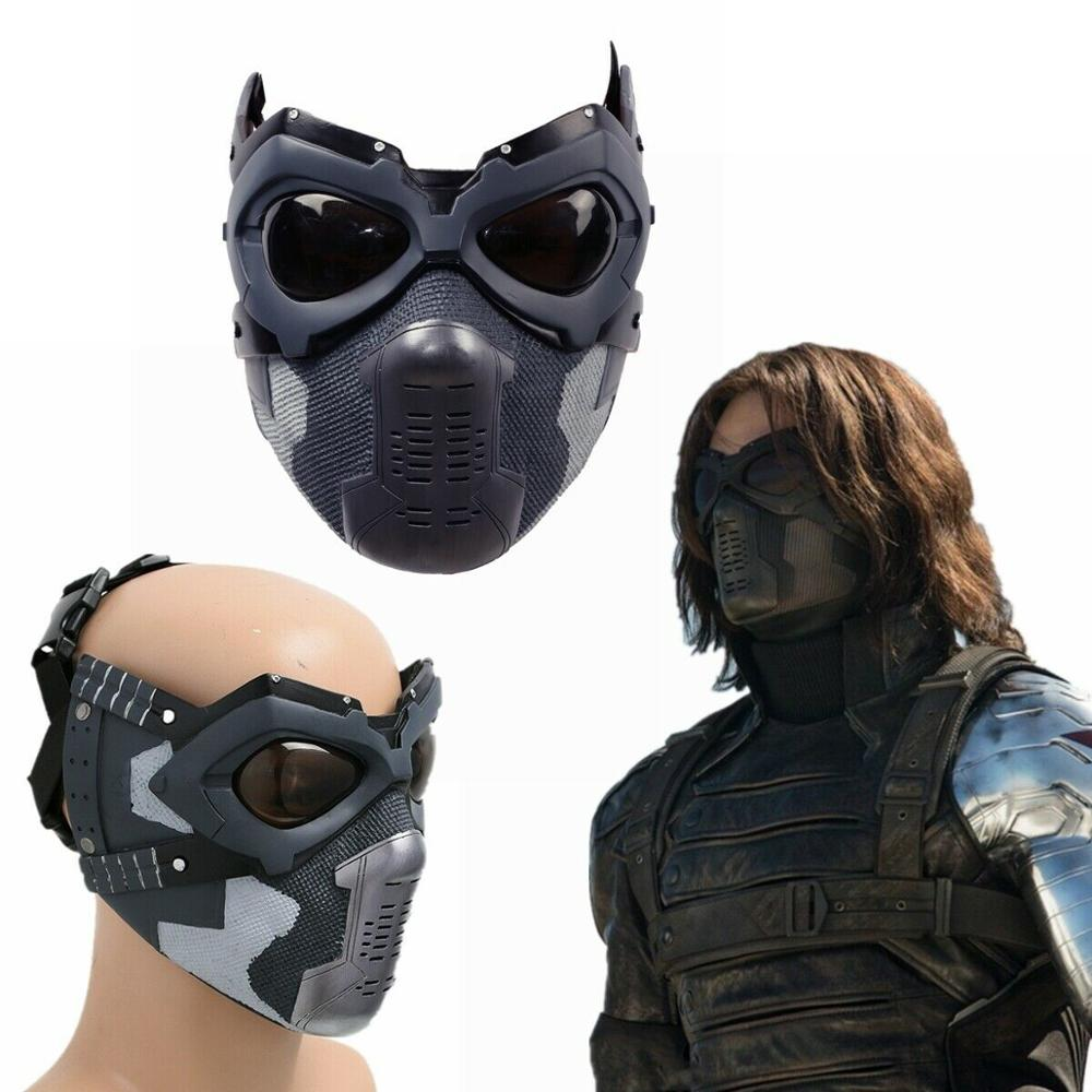 Coslive Captain America 3: Civil War Winter Soldier Bucky Cosplay Mask Resin Full Head Helmet Costume Props Halloween Replica