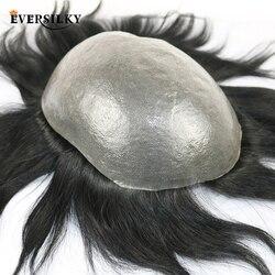 100% Eversilky, cabello humano Remy, PU duradero para hombres, peluquín Natural, sistema de reemplazo, peluca para hombres