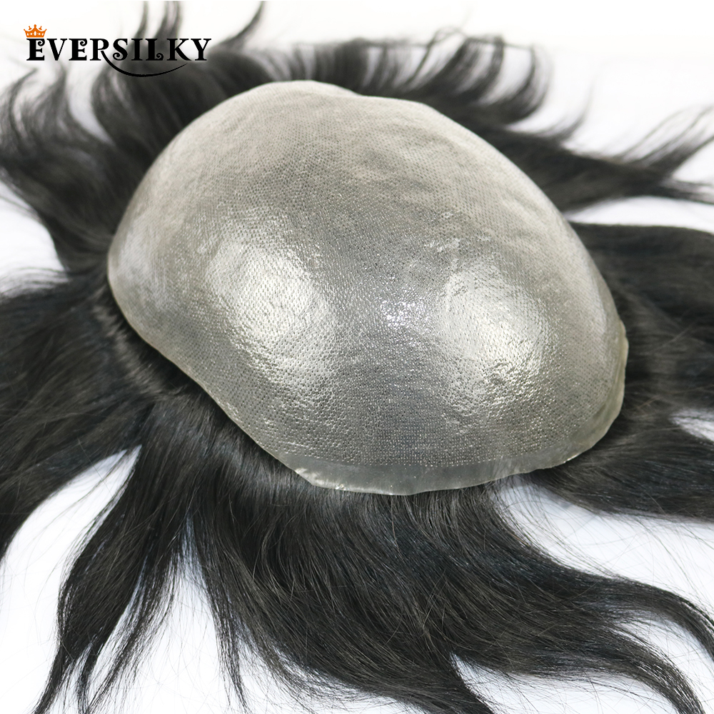 Eversilky 100% Remy Human Hair Durable PU Mens Toupee Natural Hairline Replacement System Mans Wig