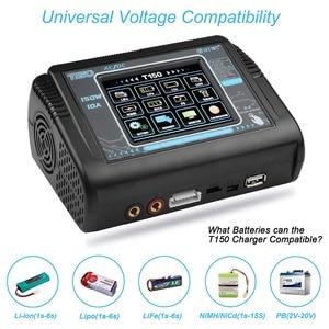 Image 2 - Em estoque htrc t150 carregador de bateria inteligente ac/dc 150w 10a com carga do equilíbrio da tela de toque para lipo lihv vida lilon nicd nimh pb b