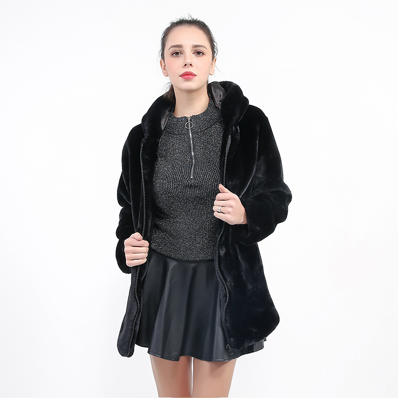 Fur Hooded Long Black Overcoat Gothic Furry Faux Fur Coat Women Zipper Long Sleeve Vintage Slim Jacket Plus Size