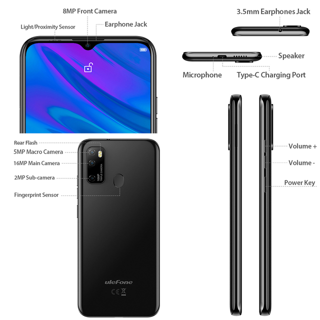 Ulefone Note 9P Smartphone Android 10 4GB+64GB Waterdrop Screen 6.52-Inch Octa-Core 4G Android Mobile Phone 5