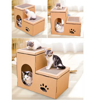 New DIY Corrugated Paper Cat House Double-Decker House Cat Scratch Board Toys Cat Grinds Claw Toys Combination House 50*40*32cm