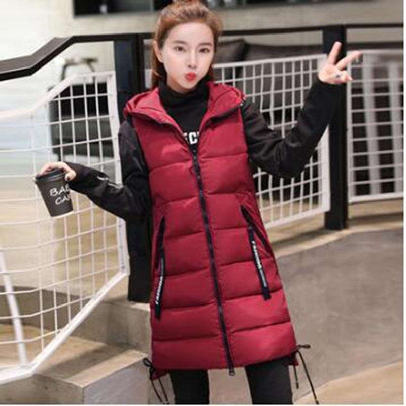 Br 2020 nova marca de inverno jaqueta feminina à prova vento quente longo algodão colete casual sem mangas com capuz femme casaco colete