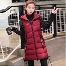 Br 2021 nova marca de inverno jaqueta feminina à prova vento quente longo algodão colete casual sem mangas com capuz femme casaco colete