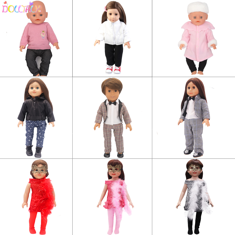 9 Colors Doll Winter Clothing Dolls Suit Outfit For 18 Inch American And 43cm Baby Doll Cute Lovely Girl Doll Clothes