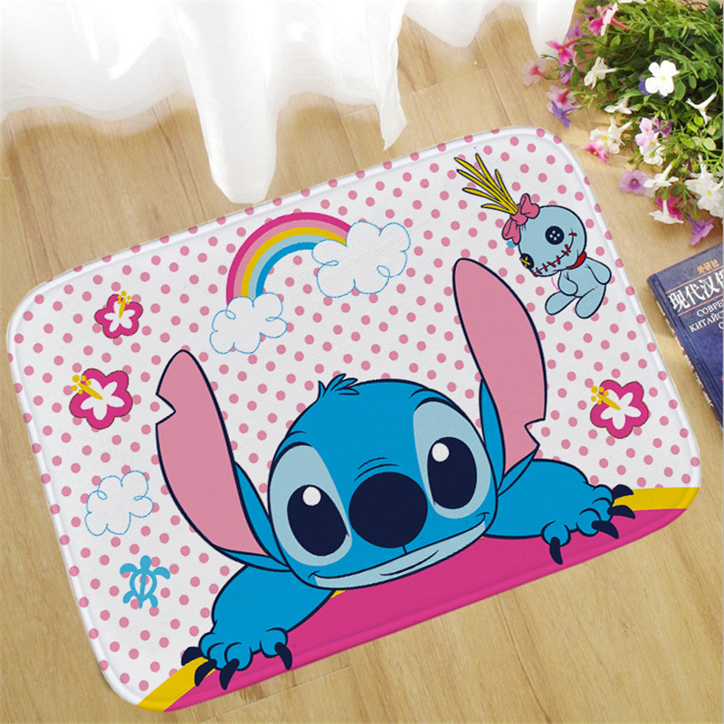 60x40cm Disney Stitch Doormat Insole Kitchen Carpet Indoor Outdoor Welcome Bathroom Anti-slip Floor Mats Cartoon Rug