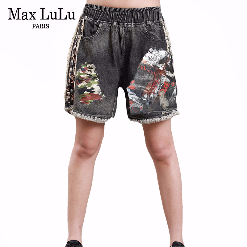 Max LuLu 2020 European Style Shorts Summer Ladies Vintage Denim Trousers Women Leopard Printed Jeans Casual Streetwear Plus Size