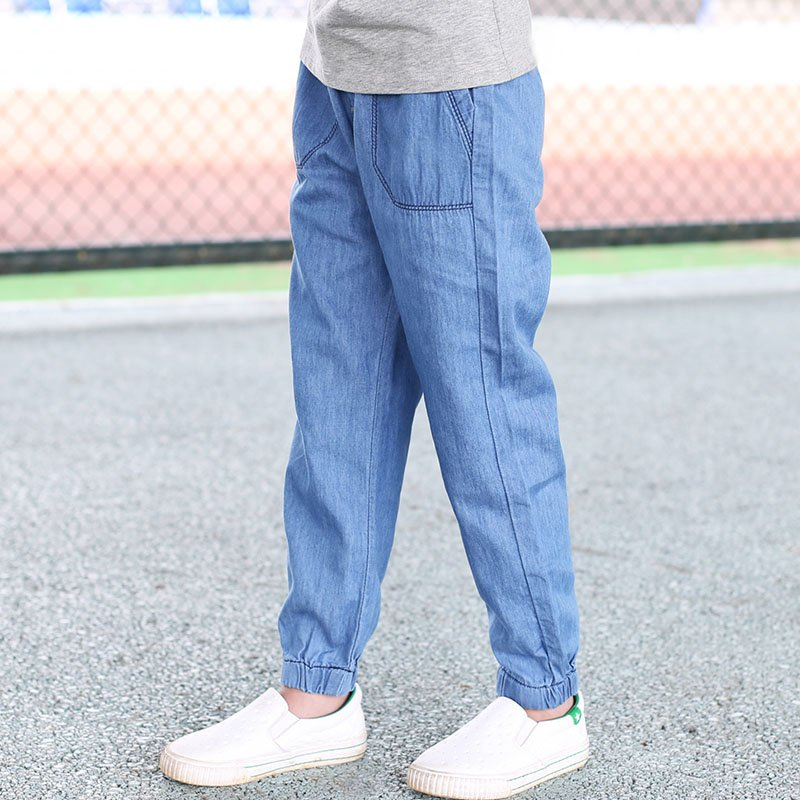 Children Boy Jeans Anti-mosquito Pants 2020 Summer New 3-11T Boy Clothes Solid Elastic Waist Trousers High Quality