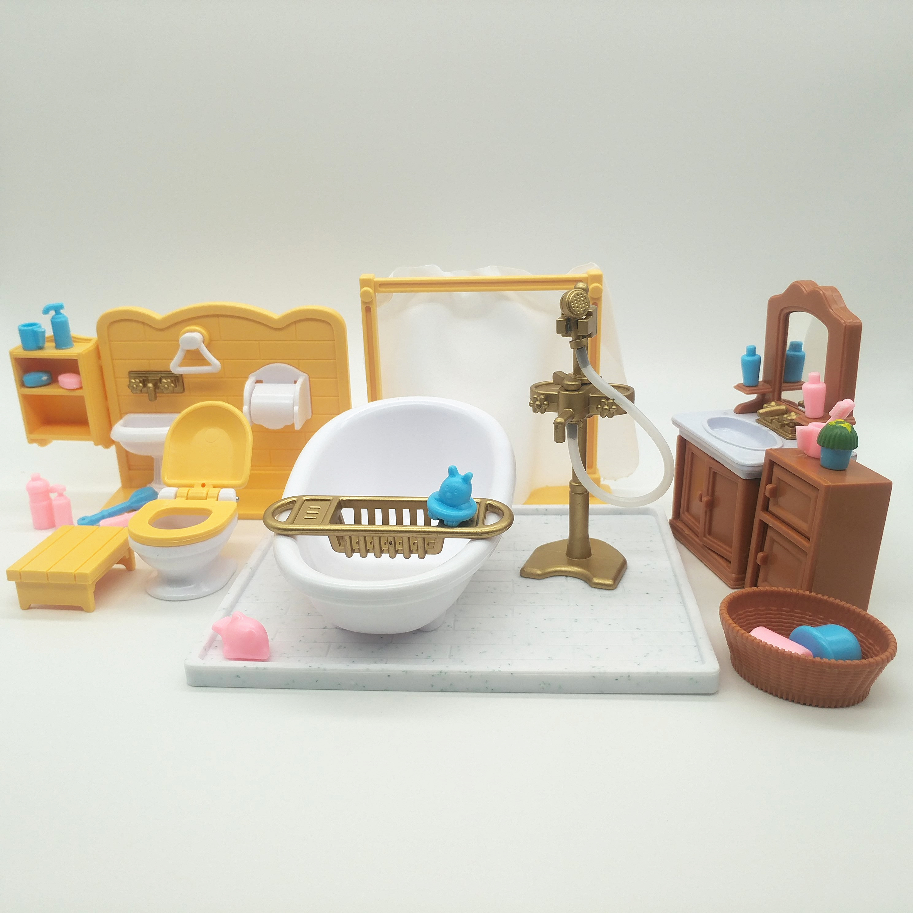 Happy Family Bath Room Furniture Figures Dolls Toy Mini Furniture Miniature Dollhouse Pretend Child's Children Toy Gift