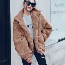 ALLNeon Zipper Pockets Front Turn-Down Collar Faux Shearling Fur Outerwear Comfort Oversize Ladies Coats Thick Fleece Cardigan недорого