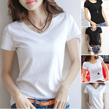 Basic Solid Color T-shirt Female V-Neck Tops Summer Womens Short Sleeve Black White T Shirt Round Neck Casual Tee Shirts