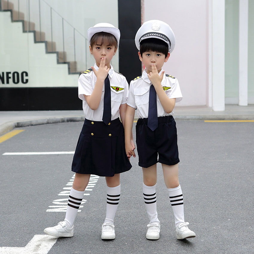 Children Navy Military Uniform Cosplay Sailor Halloween Costume Army Suit Kids Chorus Stage Wear Performance Dance Clothing