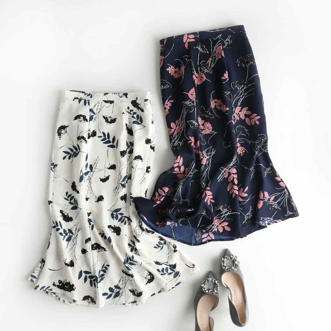Fashion Skirt Women's Summer New Style High-waisted Flounced Skirt Mid-length A- Line Irregular Floral-Print Fishtail Skirt
