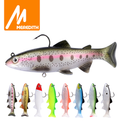 MEREDITH 12cm 15cm Trout Lead Head PVC Fishing Lures Swimming T Tail Silicone Lead Soft Lures Artificial Baits Swimbait Wobblers