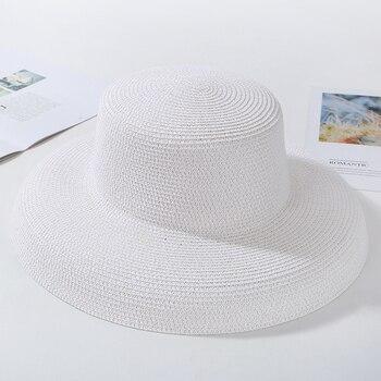 HT2303 New Summer Sun Hats Ladies Solid Plain Elegant Wide Brim Hat Female Round Top Panama Floppy Straw Beach Hat Women 15