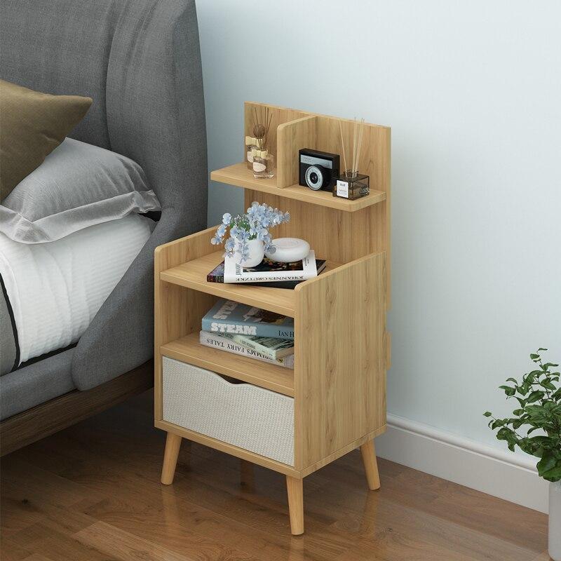 Contratada e contemporânea mesa de cabeceira prateleira simples econômico nordic pequeno quarto cama receber armário de armazenamento