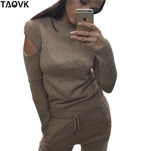 Image 2 - TAOVK Molle Alla Moda in maglia set caldo delle donne knittwear aperto maniche spalla maglione allentato vestito di mutanda 2 pezzi abiti per le donne 2019