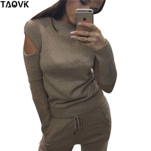 Image 2 - TAOVK Stylish Soft knit set warm womens knittwear open shoulder sleeves sweater loose pant suit 2 piece outfits for women 2019