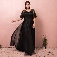 Evening Dresses Black dress Prom Dresses Floor Length Sashes Wedding Guest Party Gowns A line V neck