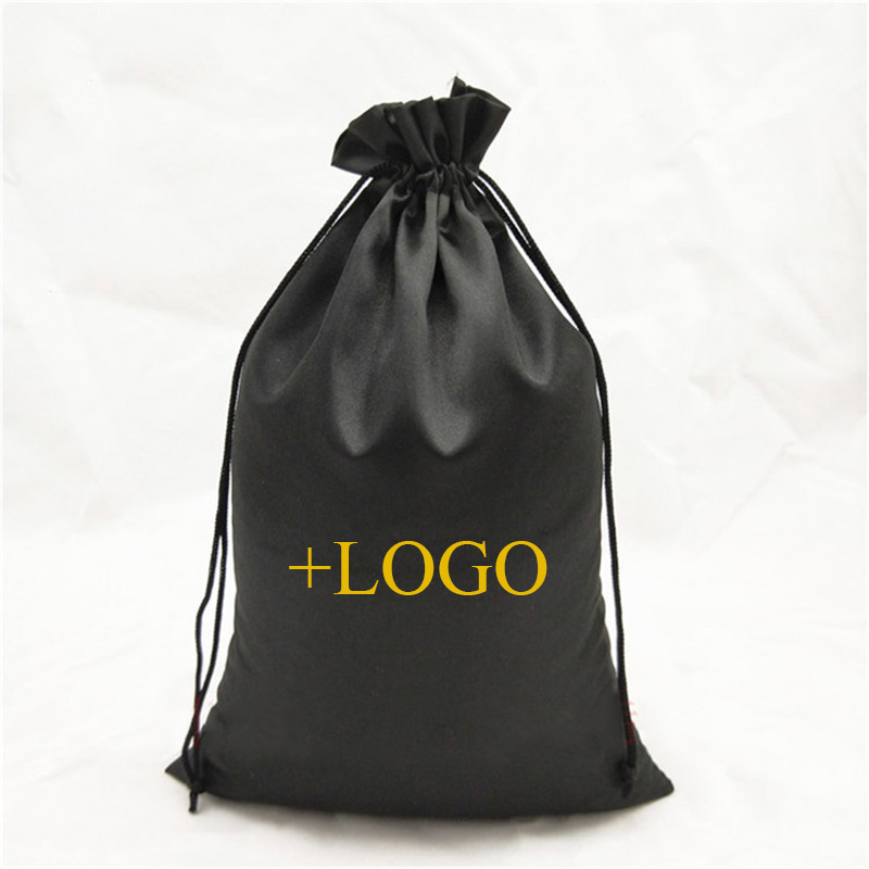 50PCS Luxury Virgin Hair Extensions Packaging Bag Custom Logo Drawstring Pouch Wigs/Makeup/Studio/Products Gift Pouch