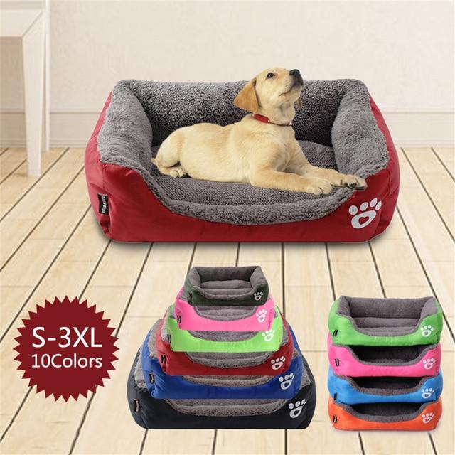 (S-3XL) Large Pet Cat Dog Bed 8Colors Warm Cozy Dog House Soft Fleece Nest Dog Baskets Mat Autumn Winter Waterproof Kennel 1