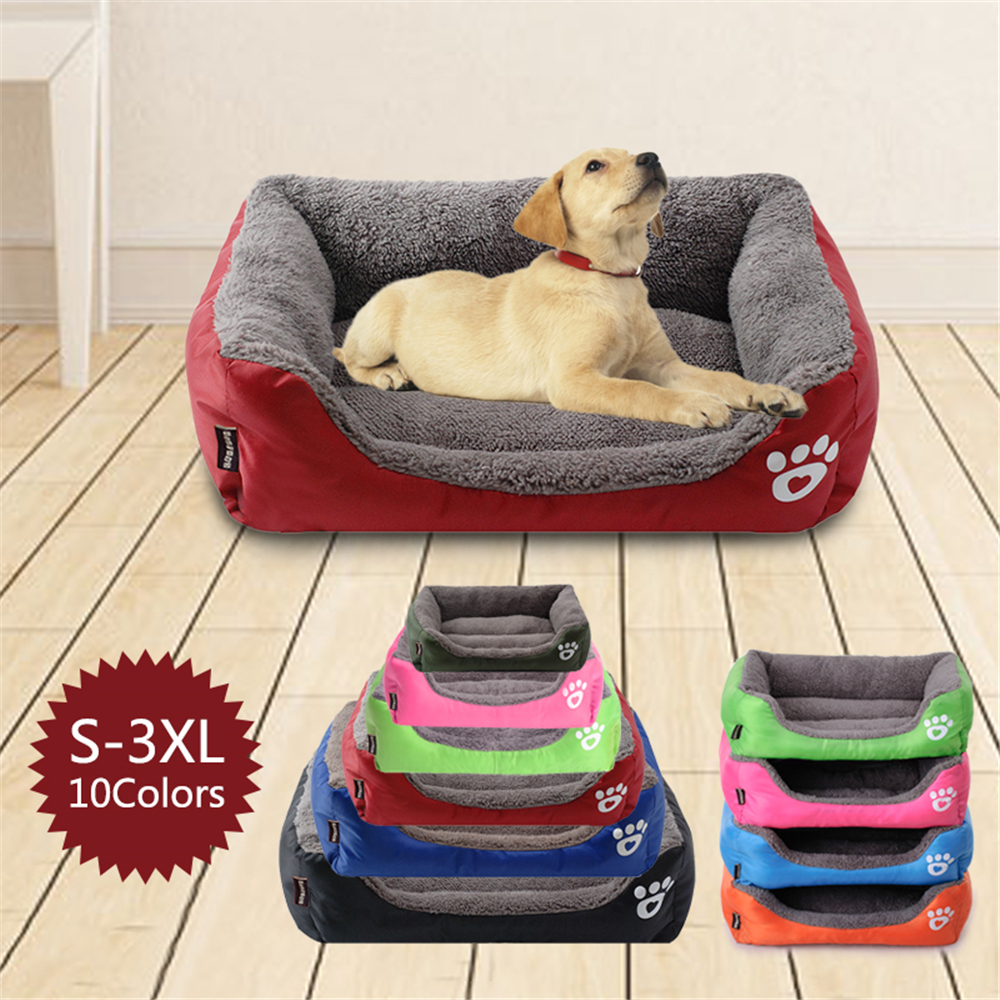 (S-3XL) Large Pet Cat Dog Bed 8Colors Warm Cozy Dog House Soft Fleece Nest Dog Baskets Mat Autumn Winter Waterproof Kennel #1