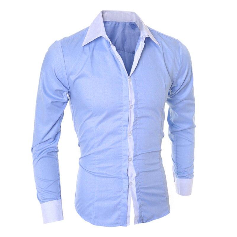 Men's Tops Fashion Men's Shirts Personality 2019 Casual Slim Long Sleeve Shirt Men's Solid Color Dress Shirt Tops