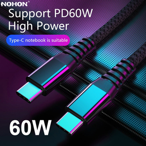 Nohon 60W PD Type C to Type C Cable for Huawei Mate QC 4.0 Fast Charge Data Cable for Macbook Samsung S9Plus USB C to USBC Cable
