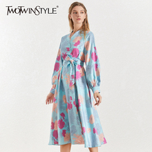 TWOTWINSTYLE Print Lace Up Dress Female Stand Collar Lantern Long Sleeve High Waist Dresses For Women 2019 Autumn Fashion New