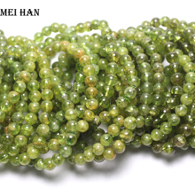 Meihan (25 beads/set/14g) 7mm+ 0.3 natural green peridot smooth round gem stone beads for gift women men bracelet