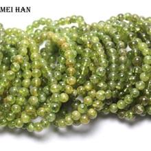 Meihan (25 kulek/zestaw/14g) 7mm + 0.3 naturalna zieleń peridot gładkie okrągłe klejnot kamień koraliki na prezent kobiety mężczyźni bransoletka