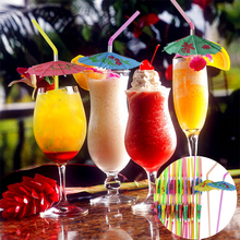 25/50/100pcs Mixed Paper Straws Multicolor Plastic with Cute Umbrella Hawaiian Party Supplies Cocktail Drink