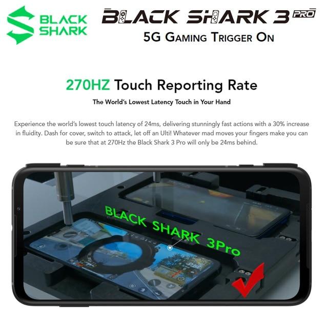 Smartphone de jeu Global ROM noir requin 3 Pro 5G 7.1 pouces 8GB 256GB Snapdragon 865 Octa Core 5000mAh WiF 6