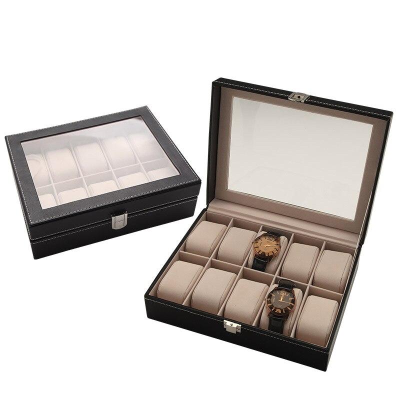 2019 Brand Lizard Pattern Big Watches Box PU Leather 10 Grids Watch Display Case With Window Jewelry Box Women Men Birthday Gift
