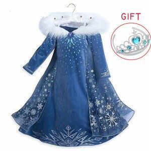 2 elsa vestido meninas festa vestidos cosplay roupas de ano novo anna neve rainha aniversário vestido de princesa crianças carnaval traje