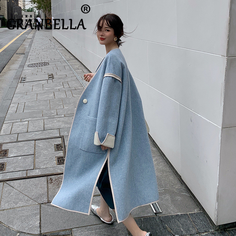 2020 Winter Women Warm Wool Cashmere Trench Coat Solid Oversize Women Clothes Elegant Lady Long Blend Coats Cardigan With Pocket