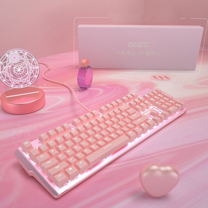 Image 5 - New girly pink gaming mechanical wired keyboard 104 key USB interface white backlight is suitable for gamers PC laptops