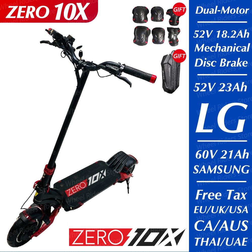 ZERO 10X скутер 10 дюймов двойной мотор электрический скутер 52 в 2000 Вт внедорожный е-скутер способный преодолевать Броды 65 км/ч двойной диск высо...