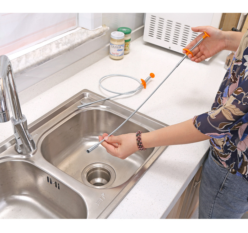 Narrow Bend Picker Sink Drains Grabber Flexible Long Reach Claw Pick Up Narrow Bend Curve Floor Drain Sewer Spring Grip Cleaner