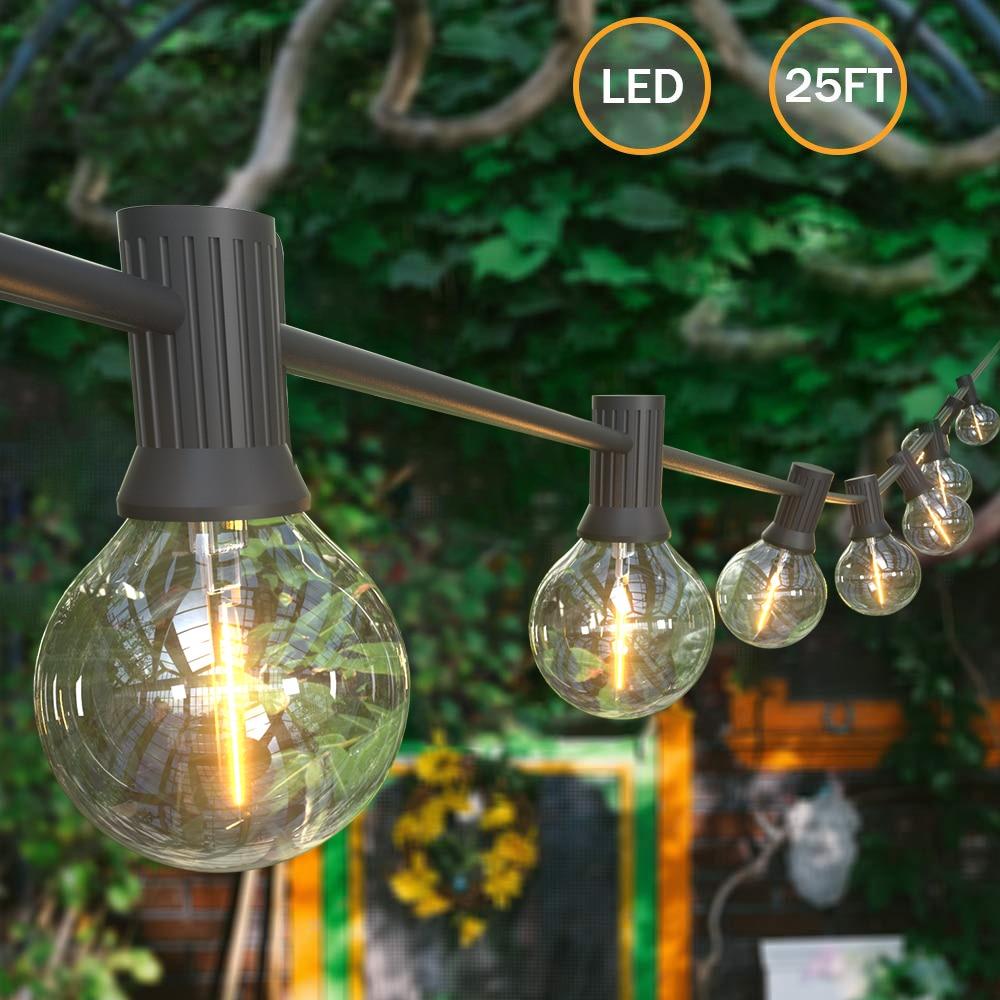 25 Led Christmas Lights Wedding String Fairy  LED Globe Festoon Bulb Led Fairy String Light Outdoor Party Garden Garland