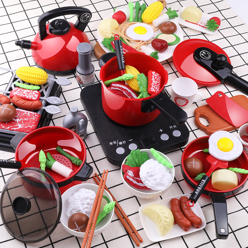 Infant Shining Kitchen Set For Kids Kitchen Toy Baby Cooking Cook Model Infant Play House Kitchen Hot Pot Series Play Food Toys