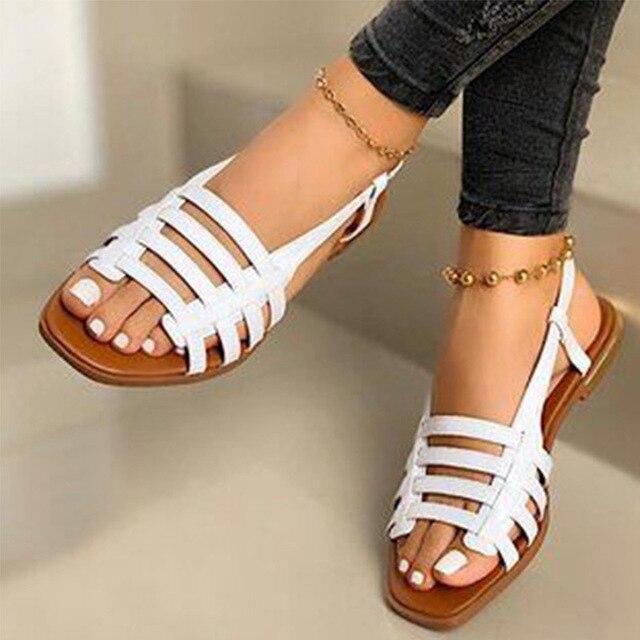 2020 sandalias de mujer gladiador de Punta abierta Casual zapatos de playa de mujer ahuecados planos de mujer calzado de verano al aire libre talla grande 3